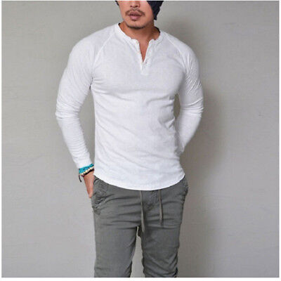 Charm Men's Slim Fit V-Neck Long Sleeve Muscle Tee T-shirt Sport Crop Tops LG