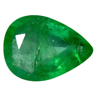 0.46 ct Pear (7 x 5 mm) Unheated Green Colombian Emerald Natural Loose Gemstone