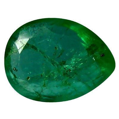 0.37 ct Pear (6 x 4 mm) Unheated Green Colombian Emerald Natural Loose Gemstone