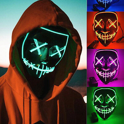 """Light Up Mask """"Smiling Stitched"""" El Wire (Christmas 2018 Rave Cosplay Edm Purge)"""