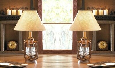 Set of 2 Vintage Camping Style Iron Lantern Table Lamps w/ Burlap Neutral Shade