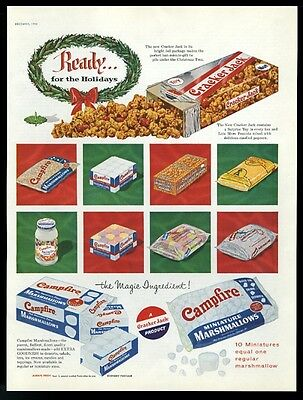 1956 Cracker Jack and Campfire Marshmallows bag box Christmas vintage print ad