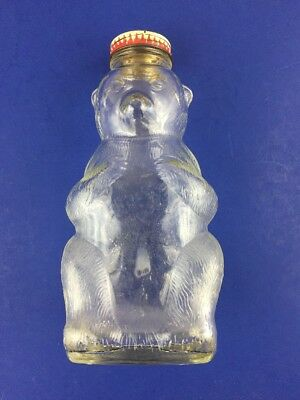 Vintage Snow Crest Bear Bank Bottle with Original Cap Salem Mass 7""