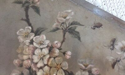 Arts & Crafts, Antique Vintage Blossom & Bees Flower Oil Painting Study Panel.