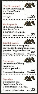 USA 1987 22c US Constitution strip of 5 Mint Unhinged