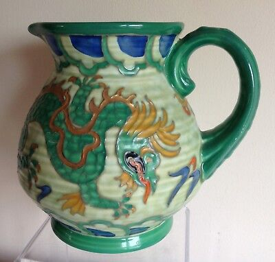 "Art Deco Crown Ducal Charlotte Rhead signed ""Manchu"" Green 4 Toed Dragon Jug"