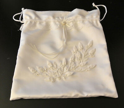 Victoria Lynn White Wedding Money Bag With Pearls-Brand New