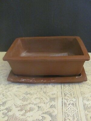 #128 Vintage Japanese Pottery Bonsai Pot Rectangle W/Tray Rust Unglazed