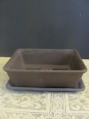 #127 Vintage Japanese Pottery Bonsai Pot Rectangle W/Tray Brown Unglazed Signed