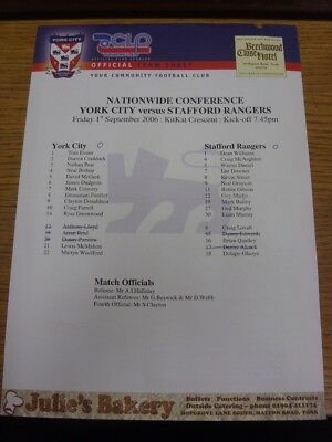 01/09/2006 Colour Teamsheet: York City v Stafford Rangers (score noted, folded).