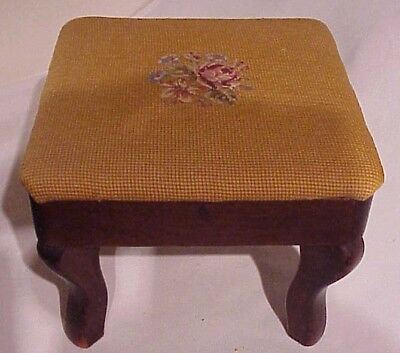 Antique Petit Point Floral Center Against Gold Needlepoint Padded Top Footstool