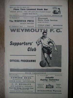 WEYMOUTH  v  Welton Rovers  64/5  FA Cup R1 Proper.