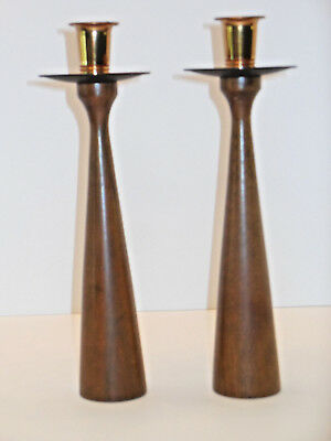 Danish Modern MCM wood walnut candlestick pair weighted unmarked