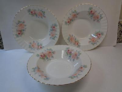 3 Richmond Bone China Royal Albert 8in Rimmed Soup Bowl Pink Rose Swirl Edge