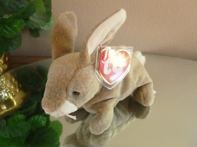 TY Beanie Baby - NIBBLY the  Rabbit (6 inch)> BUY 4  BEANIES GET 1 FREE AUCTION>