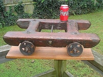 Antique Iron And Wood Small Industrial Factory Cart