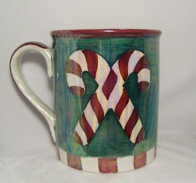 Cane Caribou Cup Mug Christmas Oversized Candy Coffee Ceramic Pearlized Green 1JTu5lFKc3