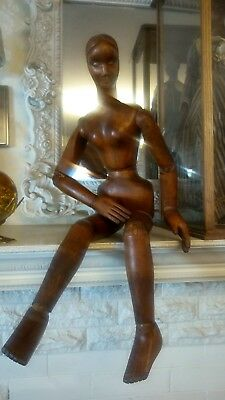 Antique 3 ftt Mannequin Lay Figure Carved Wood Maquette 19th C 1880
