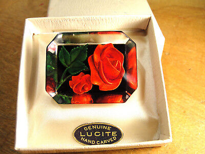 Vtg Reverse Hand Carved Genuine Lucite Red Rose Brooch Pin in Box w/ Tag