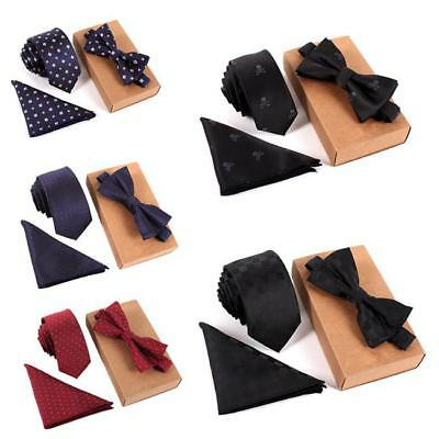 3pcs Men's Polyester Silk Tie Bow Tie Necktie Handkerchief Pocket Square BS
