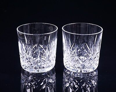 """Set Of Two Vintage Waterford Lismore 3 1/4"""" Tall Old Fashioned Crystal Glasses"""