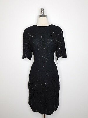 womans vtg black LIFE&STYLE glass beaded sequins silk cocktail dress L XL L40-28