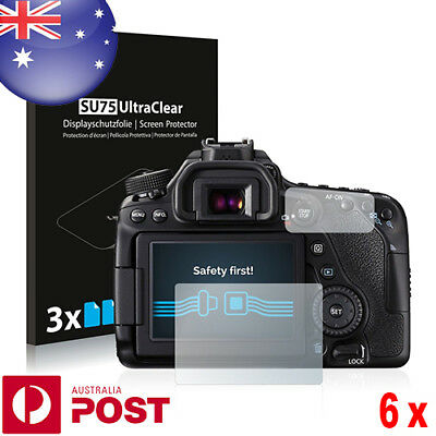6x Savvies® SU75 HD Screen Protector for Canon EOS 80D - P075B