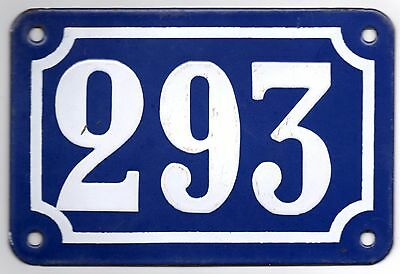 Old blue French house number 293 door gate plate plaque enamel steel metal sign