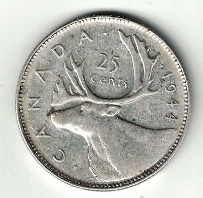 Canada 1944 25 Cents Quarter King George Vi Canadian Silver Coin