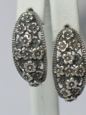 Antique Russian Sterling 875 Silver Ag Earrings Soviet USSR Big vtg Flower Old