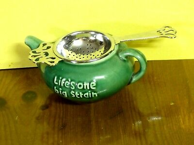 "Vintage 'holland Pottery' Teapot Tea Strainer ""life's One Big Strain"" Excellent"