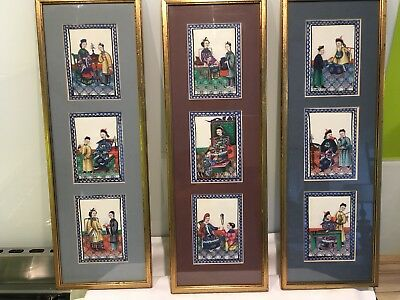 3 Framed Sets Of Antique Chinese Pith Rice Paper Paintings ,fantastic Quality