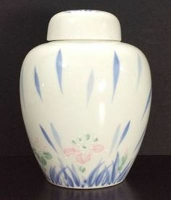 Porcelain Ginger Jar w/ Lid White with Pink Blue Flowers by IRIS Made In Japan