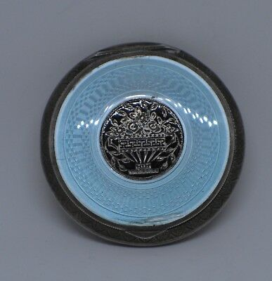 Antique Austrian Sterling Silver Blue Enameled Guilloche Compact BEAUTIFUL!