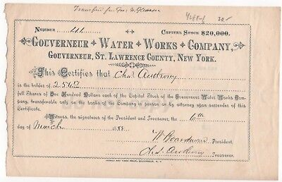 Gouverneur Water Works Company NY 1888 Antique Stock Share Certificate
