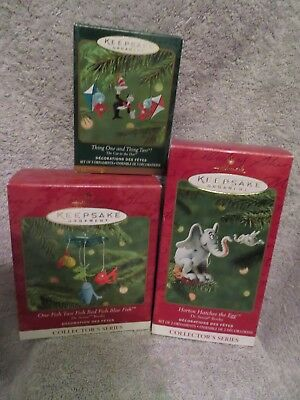 Vintage 3 Horton Hear's a Who Hallmark Ornament set New in Box never displayed