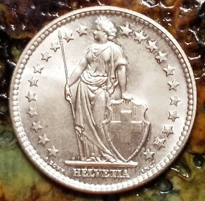 1961 Switzerland  2 franc, lustrous silver coin, extra fine condition