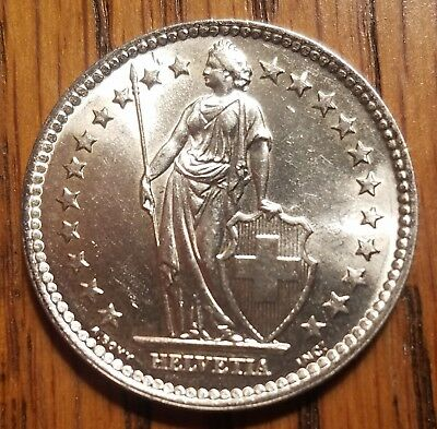 1965 Switzerland 2 franc, gorgeous silver world coin, brilliant AU condition