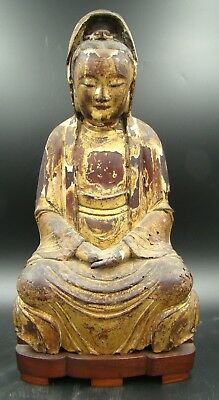 17th Century BURMA Shan Tai Yai Burmese Gilt Carved Wood Seated Buddha VERY RARE
