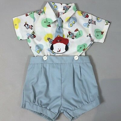 Vintage 80s Baby Boy 3-6M 2pc Shirt Shorts Set w/Tie Puppy Dog Golf Print Unworn