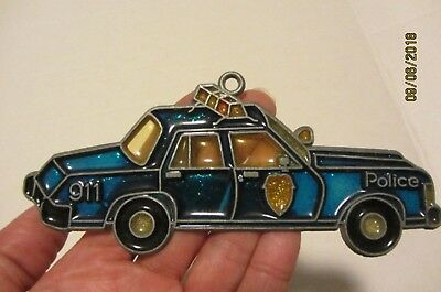 Vintage 60's 70's Stained Glass Look Police Car 911 Suncatcher Ornament Mint!