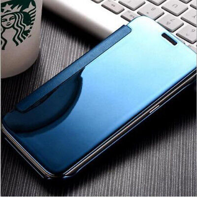 For LG V30 V10 G5 G6 Bling Mirror Clear View Slim Leather Wallet Flip Case Cover