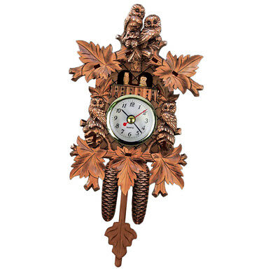 Creative Wooden Handcrafted Cuckoo Clock Carved Battery-operated Clock N