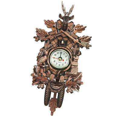 Creative Wooden Handcrafted Cuckoo Clock Carved Battery-operated Clock L