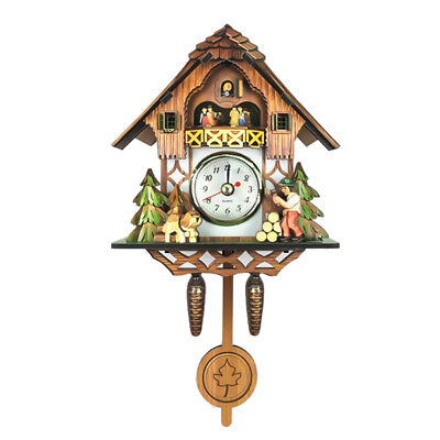 Creative Wooden Handcrafted Cuckoo Clock Carved Battery-operated Clock A