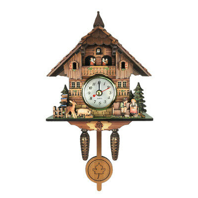 Creative Wooden Handcrafted Cuckoo Clock Carved Battery-operated Clock J