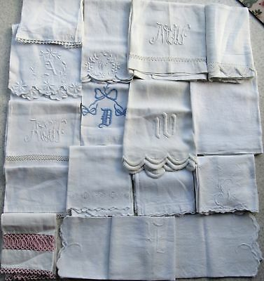 Antique Lot Embossed Huck Linen 15 Towels Embroidered Crochet Tatting Monograms