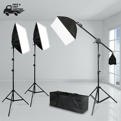 Photography Studio Boom Stand Combo Lighting Kit w/ Soft Box, Stands, Bulbs