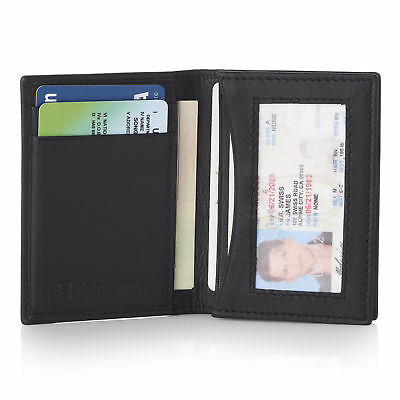 Alpine Swiss RFID Leather Business Card Wallet Minimalist ID Window Card Holder