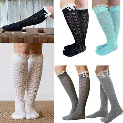 Women Cable Knit Extra Long Boot Socks Over Knee Thigh High Lace Girl Stocking